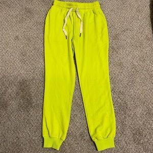 Lime green kittenish joggers!